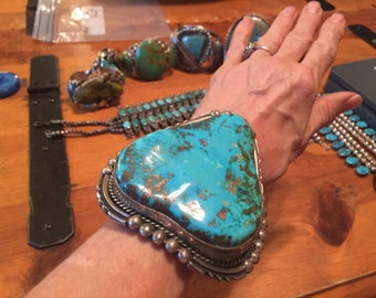 """Reserved - do not buy!  283G- Museum Quality Native American SS Royston Turquoise Cuff & Lg. SS Multi-Stone Mosaic Inlay Cuff by """"Jake"""""""
