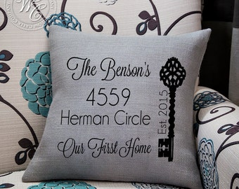 realtor gift, Home Address Pillow, Personalized Gift, Closing Gift, Realtor Closing Gift, Our First Home, Vintage Key, first home