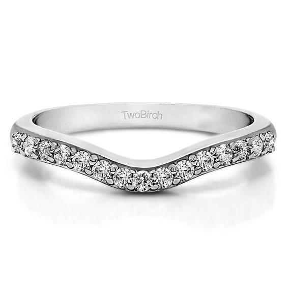 delicate curved wedding ring shadow band sterling silver