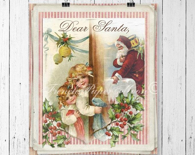 Vintage Digital Santa, Dear Santa, Santa Letter, Christmas, Instant Download Printable Image