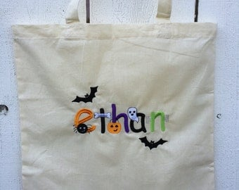 Personalized Halloween trick or treat bag, halloween bag, trick or treat, halloween candy bag, tote bag, personalized bag