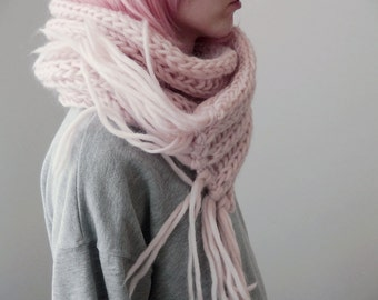 freezing fairy }} oversized hand knit scarf // pastel pink