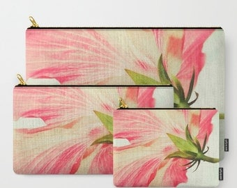 Hibiscus Photo Carry All Zipper Pouch, Floral pencil case, floral cosmetic bag, pink green white, organizer, Gift for her, Mother's Day
