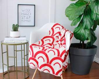 """Cotton Knitted Blanket - Red and Ivory - """"Seniorita"""" 80% Recycled Cotton Fibers"""