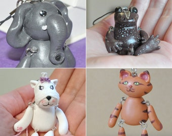 CUSTOMIZE YOUR OWN Pet Cell Bag Friend Animal Polymer Clay Doll with Cellphone Strap Kawaii Made to Order Figurine