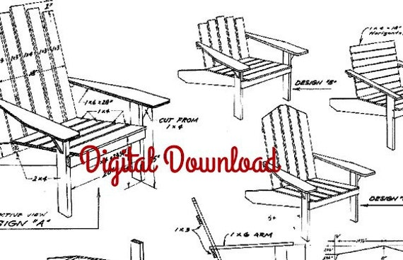 Adirondack Chair Blueprint, Patio Deck Outdoor Furniture, Instant PDF, Digital Download