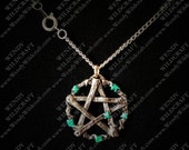 Ivy Leaf and Wood Pentacle Pendant Necklace Pewter