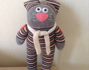 Sock Bunny, Sock Rabbit, Sock Toy, Stuffed Animal Toy, Sock Plush, Soft Toy, Sock Animal, Gray Bunny, Sock Bunnies, Grey Bunny