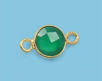 1 ea. Tiny 6mm Green Onyx and Vermeil Bezel Connecor Link Birthstone
