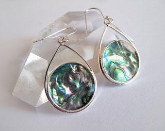 Silver & Paua Shell Dangle Earrings
