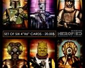 """Star Wars Inspired Set of 6 4""""X6"""" Bounty Hunter Cards!  Boba Fett IG-88 Dengar 4-LOM Bossk Zuckuss"""