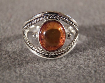 Vintage Sterling Silver Large Oval Domed Amber Fancy Scrolled Braided Band Ring, Size 8       **RL