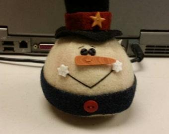 Winter Chill Snowman  Wool Pincushion Handmade Wool Pinkeep