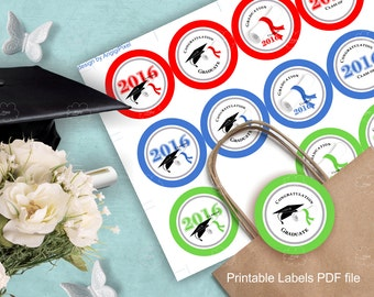 Graduation Labels Class of 2016, printable gift label, cupcake topper label, Congratulation, round label 2.5 in red blue green, PDF download