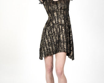 Black & Gold lace detail dress