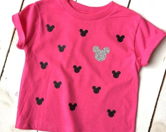 YOUTH Girls GLITTER MICKEY Face Patterned TShirt Disney Vacation Shirts Minnie Mouse Ears Shirt