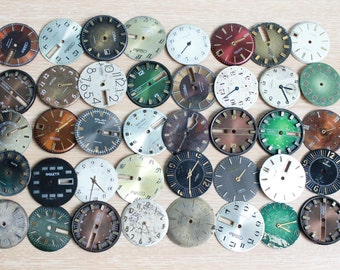 dial supplies ... vintage watch faces ...  set of 40  watch faces USSR ...  watches dials ... circle dials ... steampunk supplies