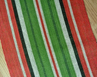 Well done Swedish retro vintage 1960s longer red/ green/ beige handwoven linen Christmas tablecloth runner with striped pattern