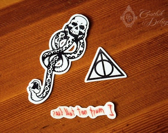 Harry Potter Temporary Tattoo Pack for every cosplay needs! Black Mark, Deathly Hallows and I Must Not Tell Lies. Customizable upon request.