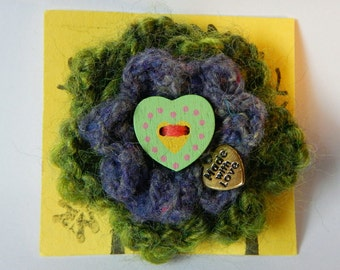 Hand Knitted Green/Yellow Flower Brooch