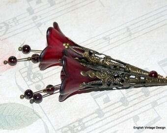 Lucite Flower Earrings, 'Cranberry', Victorian Earrings, Boho Earrings, Hand Painted, Long Dangle Earrings, Vintage Style, Garnet Drops