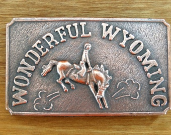 Wonderful Wyoming Bucking Horse Belt Buckle. Very Nice.