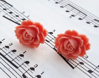 Pink flower earrings - dusky pink rose on silver studs, vintage inspired, salmon pink
