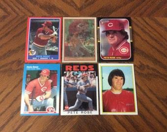 6 Vintage Pete Rose Cards