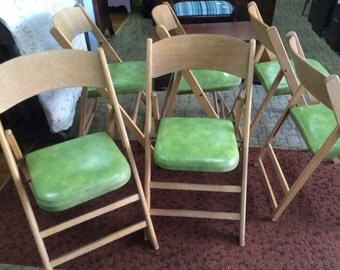 Six folding chairs mid century modern by Bailey