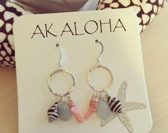 Silver Shell Hoop Earrings, Gemstone Earrings, Hawaii Earrings, Beach Earrings