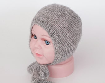 knit newborn bonnet, classic bonnet, grey bonnet, neutral bonnet, newborn photo prop, photography prop, ready to ship, rts, knit baby bonnet