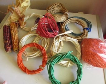 Destash Supplies Lot , Vintage Papermaking supplies, Raffia, Red, Green,  Orange, Blue, Purple,