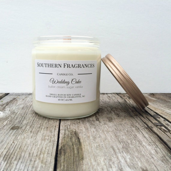 wedding cake scented candles items similar to wedding cake soy candle 16oz soy candle 24032