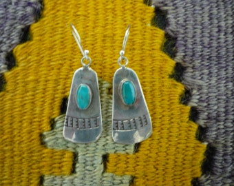 Vintage Native American Stamped Sterling Silver Turquoise Dangling Earrings