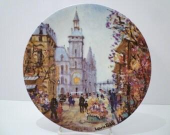 LIMOGES PLATE. Le Marche' Aux Fleurs Et La Concierge. (FRENCH Flower Market). Numbered and Signed by Artist Louis Dali for Limoges