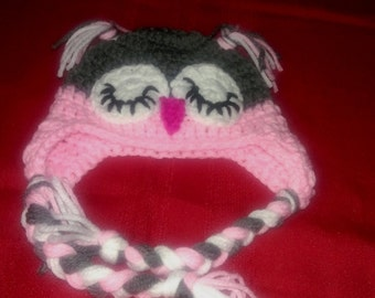 Crocheted Sleeping Owl Ear-Flap Hat