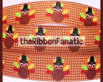 "5 yds 7/8"" Thanksgiving Pilgrim Turkey on Brown Houndstooth Grosgrain Ribbon"