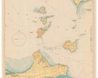 Lake Erie - 1943 - Islands in Lake Erie, Ohio - Nautical Map Reprint  - Great Lakes #3 - 364