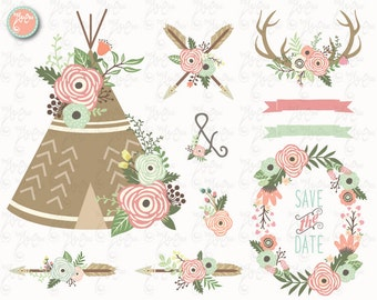"Floral Tribal clip art ""FLORAL TEEPEE""Clipart, Floral, Teepee, Antlers, Wedding, Tribal, Wreath. 25 Png files.300 dpi.Instant Download Wd146"