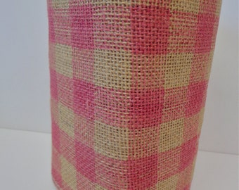 Pink Checkered Burlap, 10 Yard Roll