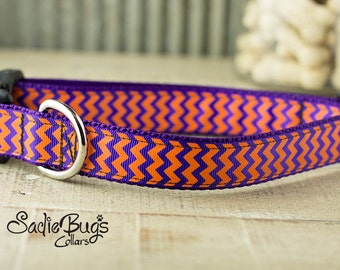 Clemson Tigers Chevron Dog Collar - Purple and Orange football dog collar