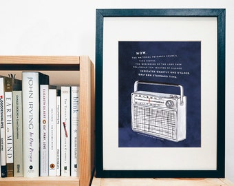 PRINT of original art - Radio - CBC radio Time Signal quote - The beginning of the long dash...  - print of a gouache painting