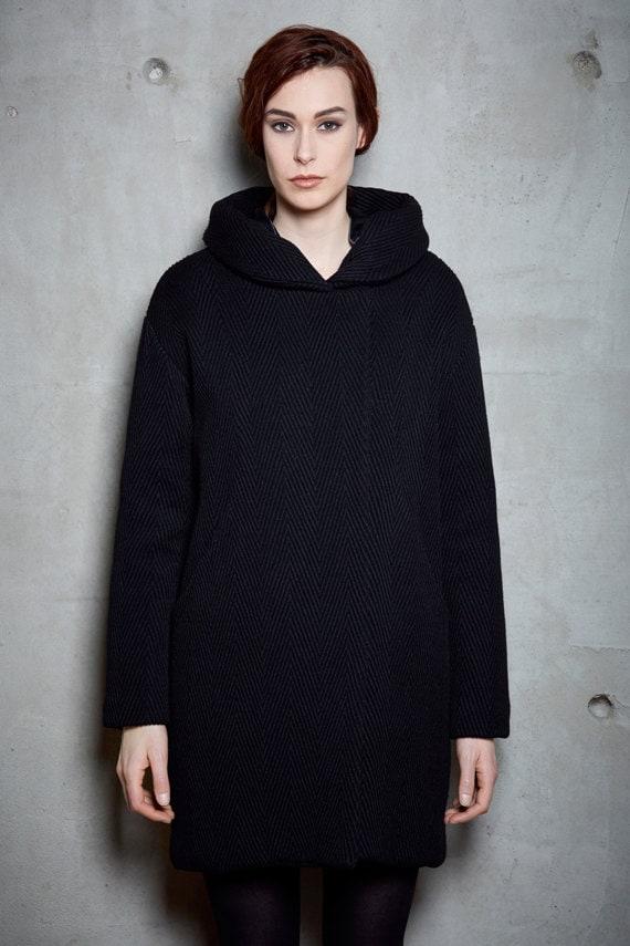 NORVÈGE - black & wool winter coat with hood - black