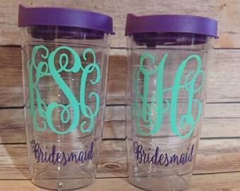 Personalized Bridesmaid Tumbler, Monogrammed Bride Tumbler, Wedding Planning Tumbler, Tervis Style Tumbler, Double Walled Tumbler