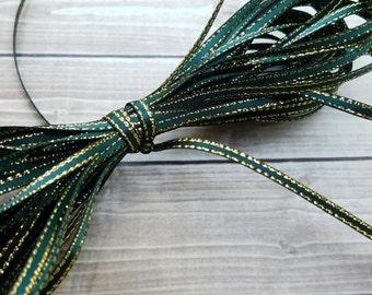 1/8 INCH Spruce Gold-Edged Satin Twine Ribbon