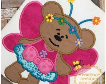 ON SALE Fairy Bear Machine Embroidery Applique Design