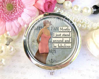 Silver Compact Mirror, cosmetic, handbag or purse mirror,  bridesmaid gift,birthday gift, Vintage Diva, Be Fabulous.