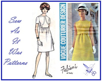 1970s Vogue Couturier Design 2065 Alberto Fabiani Italy A-Line Above Knee Length Dress Jewel Neckline Vintage Sewing Pattern Size 12 Bust 34