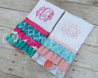 Ruffle Monogrammed Burp Cloth/Keepsake