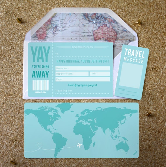 Baby Gift Ideas Nyc : Birthday boarding pass with optional map infil